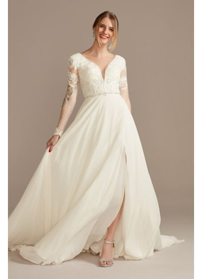 Long A-Line Glamorous Wedding Dress - Galina Signature