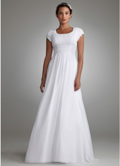 Ruched Short Sleeved Chiffon Wedding Dress | David\'s Bridal