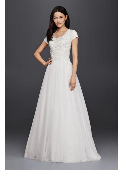 Modest beaded bodice a line wedding dress davids bridal long a line formal wedding dress davids bridal collection junglespirit Gallery