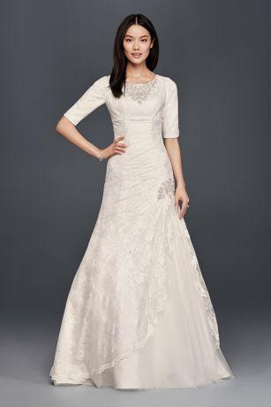 Scoop Neck Beaded Wedding Dress With 3 4 Sleeves David S