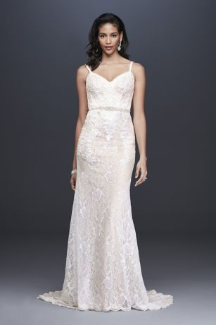 Sequin Lace Sheath Wedding Dress with Crystal Belt - Sequined appliques add shine to this slim and
