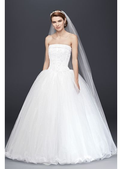 Extra Length Strapless Wedding Dress with Beading | David\'s Bridal