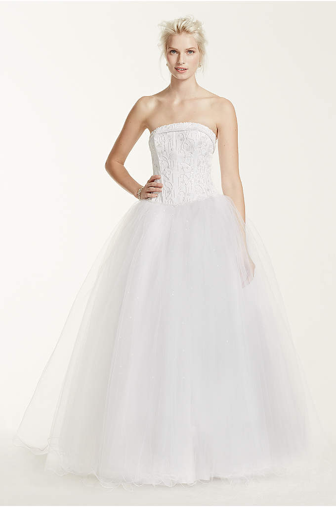 Extra Length Strapless Wedding Dress with Beading - Channel your inner princess wearing this jaw-dropping strapless