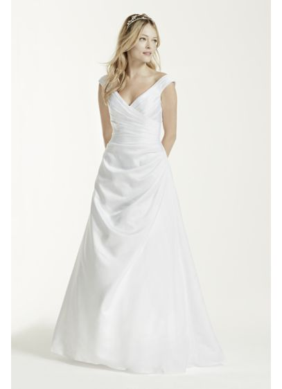 Extra Length Off Shoulder Wedding Dress with Drape - Side-draped bodice and off-the-shoulder neckline create a long,