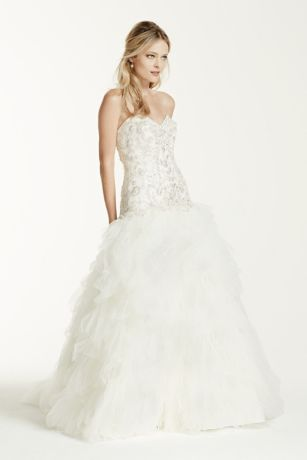 Tulle Drop Waist Wedding Dress with Ruffle Skirt | David\'s Bridal