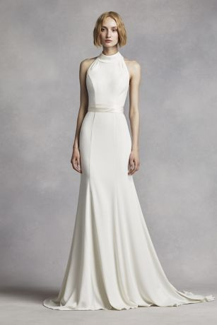 78ac80d0ca51 Extra Length High Neck Halter Crepe Sheath Gown