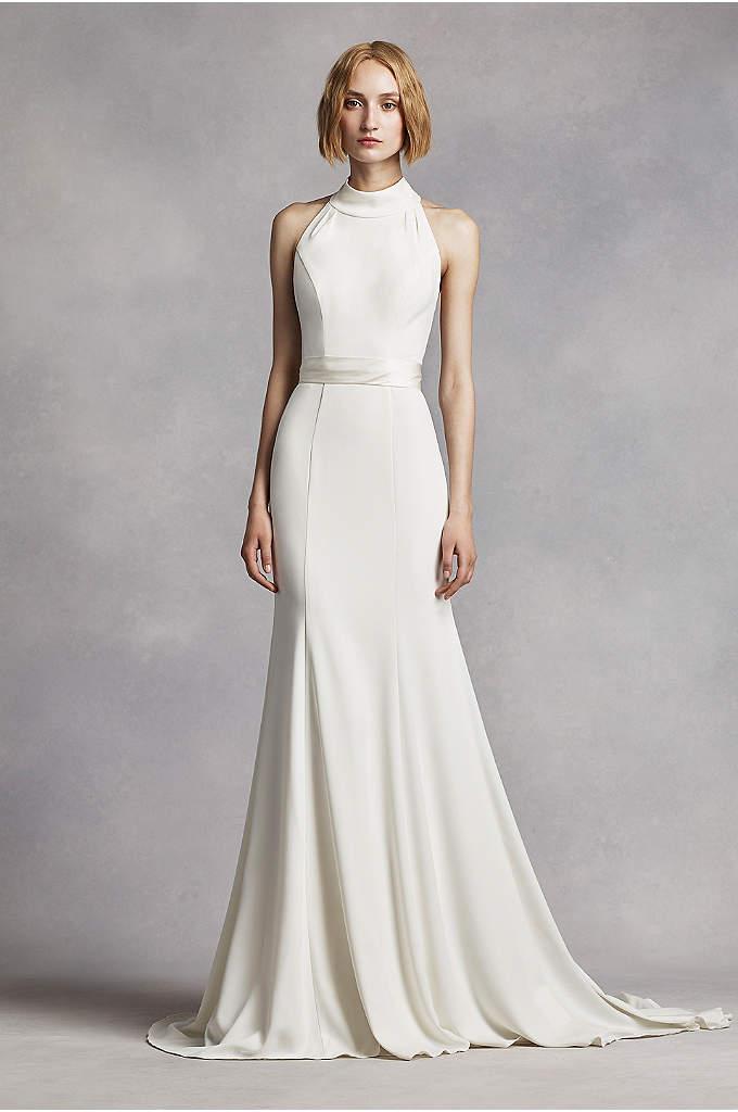 Extra Length High Neck Halter Crepe Sheath Gown | David\'s Bridal