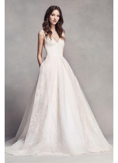37dd6e515a2f9 White by Vera Wang V-Neck Wedding Dress with Bow | David's Bridal