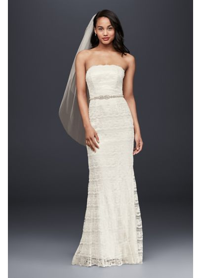 Extra Length Lace Sheath with Godet Inserts - Beautifully beaded lace gown is slimming and elegant.