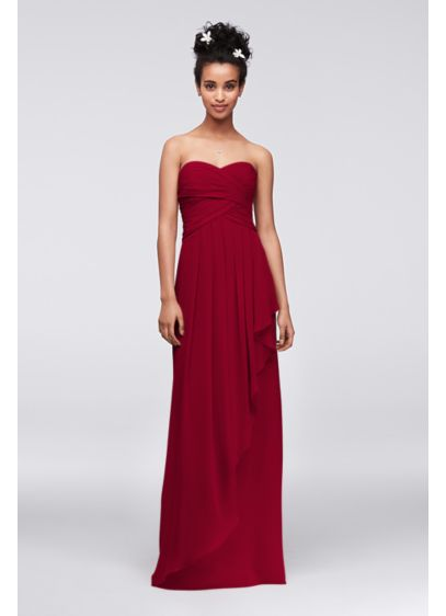 Extra Length Strapless Crinkle Chiffon Dress - Simply stunning, your bridal party is sure to