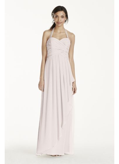 Long Pink Soft & Flowy David's Bridal Bridesmaid Dress