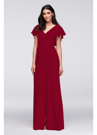 Crinkle Chiffon Flutter Sleeve Bridesmaid Dress - Flowy flutter sleeves, a deep V-back, and a