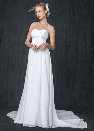 Extra Length Chiffon Soft Gown with Side Drape - Slimming and stunning, this soft gown will have