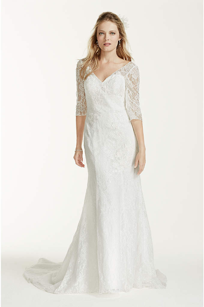 3/4 Sleeve Wedding Dress with All Over Lace Detail