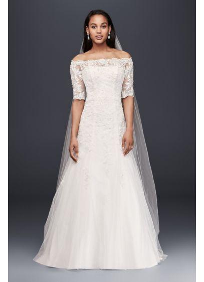 Long A Line Formal Wedding Dress Jewel