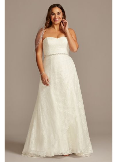 A Line Strapless Sweetheart Neck Wedding Dress David S