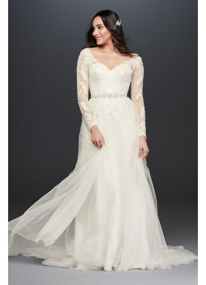 V-Neck Wedding Dress With Low Back - Illusion mesh sleeves strike a lovely balance between