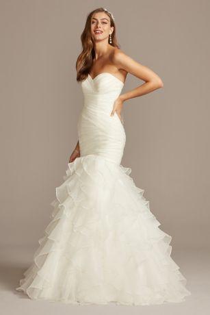 Organza Mermaid Wedding Dress With Lace Up Back David S Bridal