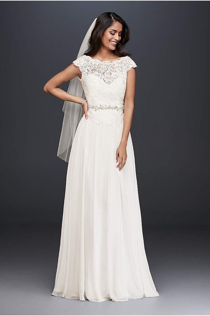 Illusion Lace and Chiffon Wedding Dress - This soft A-line lace and chiffon wedding dress