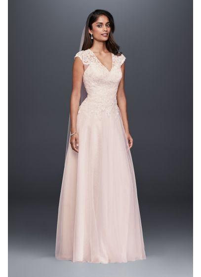 ff8e310866 V-Neck Tulle-Over-Lace A-Line Wedding Dress | David's Bridal