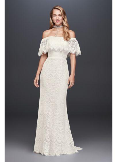 White (Eyelash Lace Off-The-Shoulder Sheath Wedding Dress)