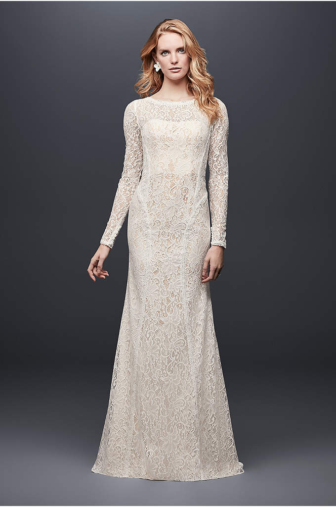 Long-Sleeve Allover Lace Sheath Wedding Dress