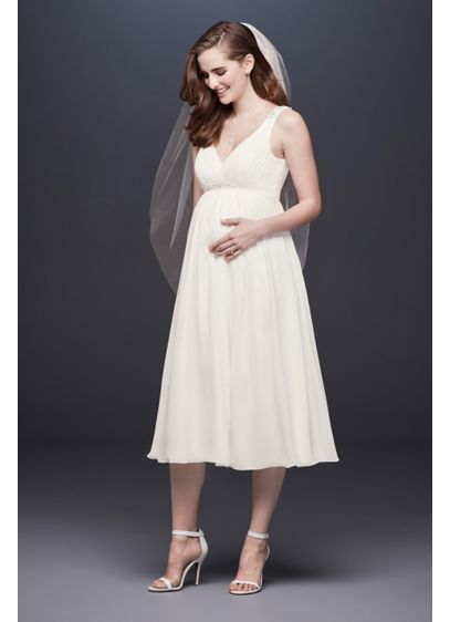 Chiffon V Neck Tea Length Maternity Wedding Dress David S Bridal