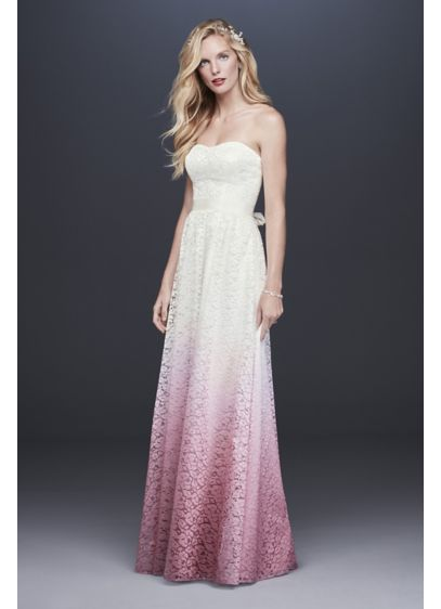 A-line Ombre Lace Wedding Dress - This easy-to-wear lace A-line wedding dress stuns with