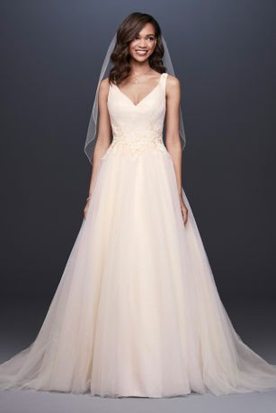 A-Line Wedding Dress wtih Appliqued Glitter Tulle - Beaded floral lace appliques encircle the waist of