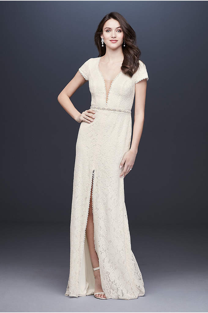 Deep V-Neck Illusion Cap Sleeve Lace Wedding Dress