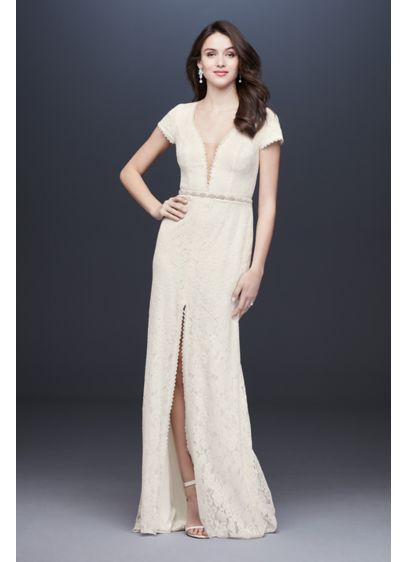 Deep V-Neck Illusion Cap Sleeve Lace Wedding Dress - A plunging neckline, finished with an illusion mesh