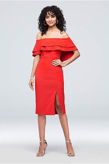 Flounced Crepe Off-the-Shoulder Sheath Dress