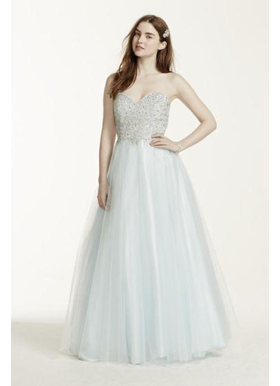 Heavily Beaded Strapless Tulle Prom Dress | David\'s Bridal