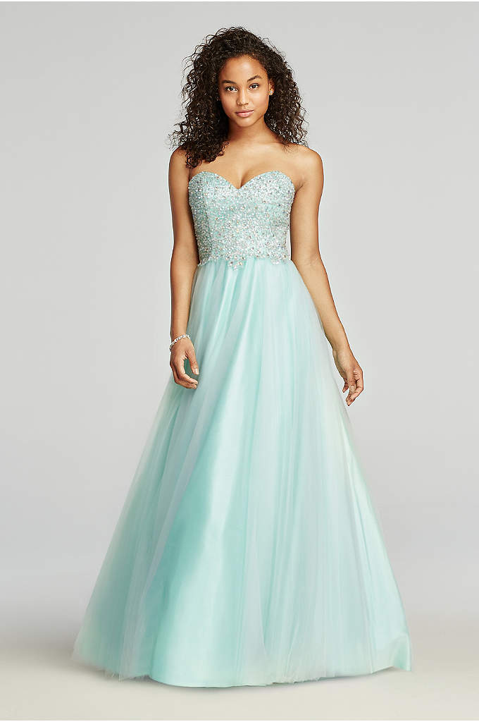 Heavily Beaded Strapless Tulle Prom Dress