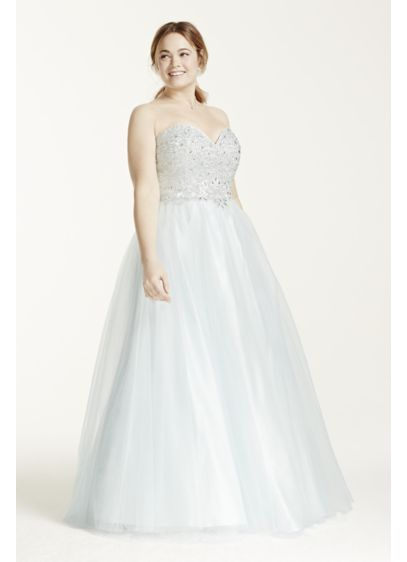 Beaded Prom Dress with Tulle Ball Gown Skirt | David\'s Bridal
