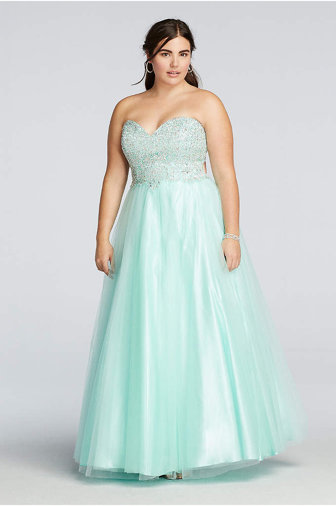 Beaded Prom Dress with Tulle Ball Gown Skirt