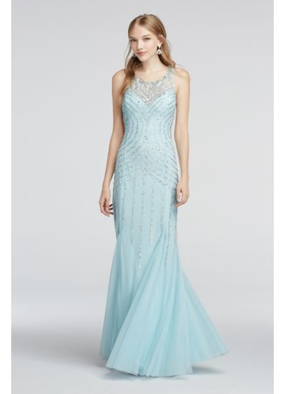 Illusion Neckline Beaded Strappy Back Prom Dress | David\'s Bridal