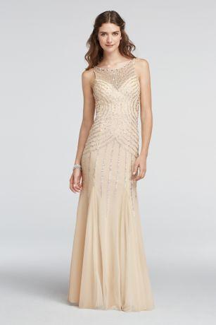 Illusion Beaded Strappy Back Prom Dress | David\'s Bridal
