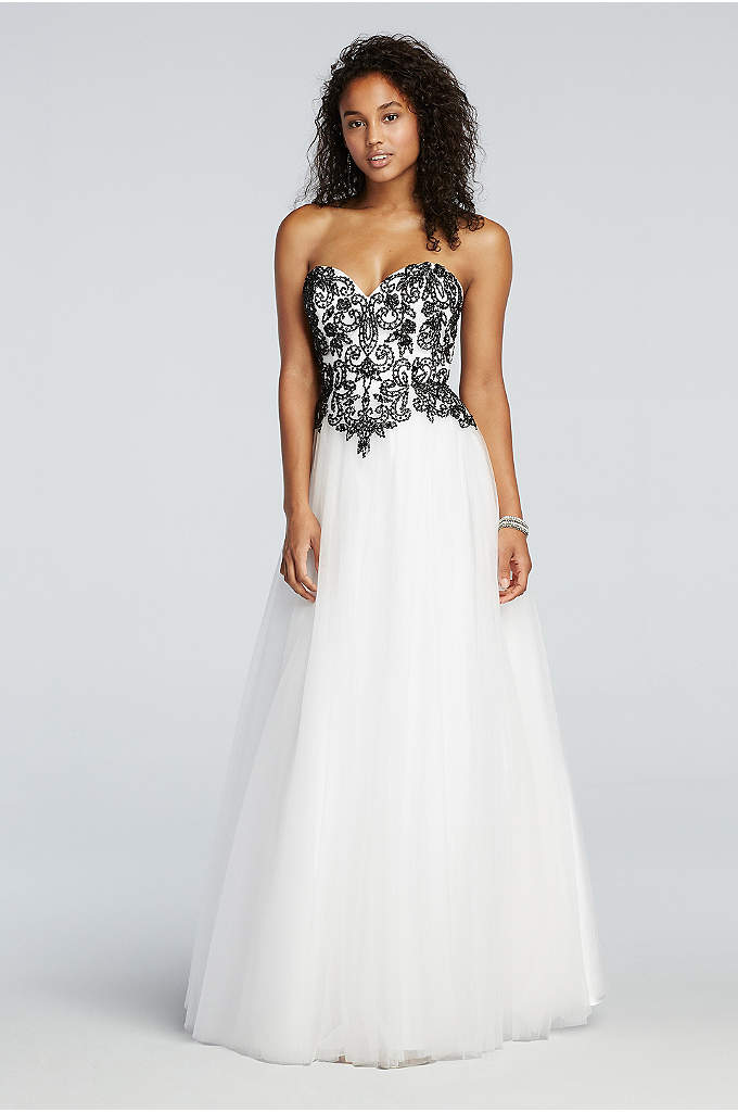 Floral Beaded Prom Dress with Tulle Net Skirt