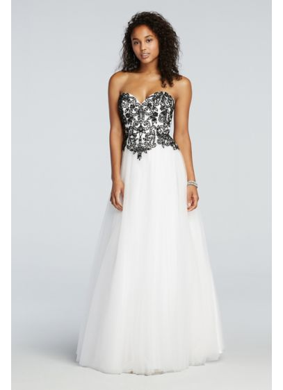 Floral Beaded Prom Dress with Tulle Net Skirt | David\'s Bridal