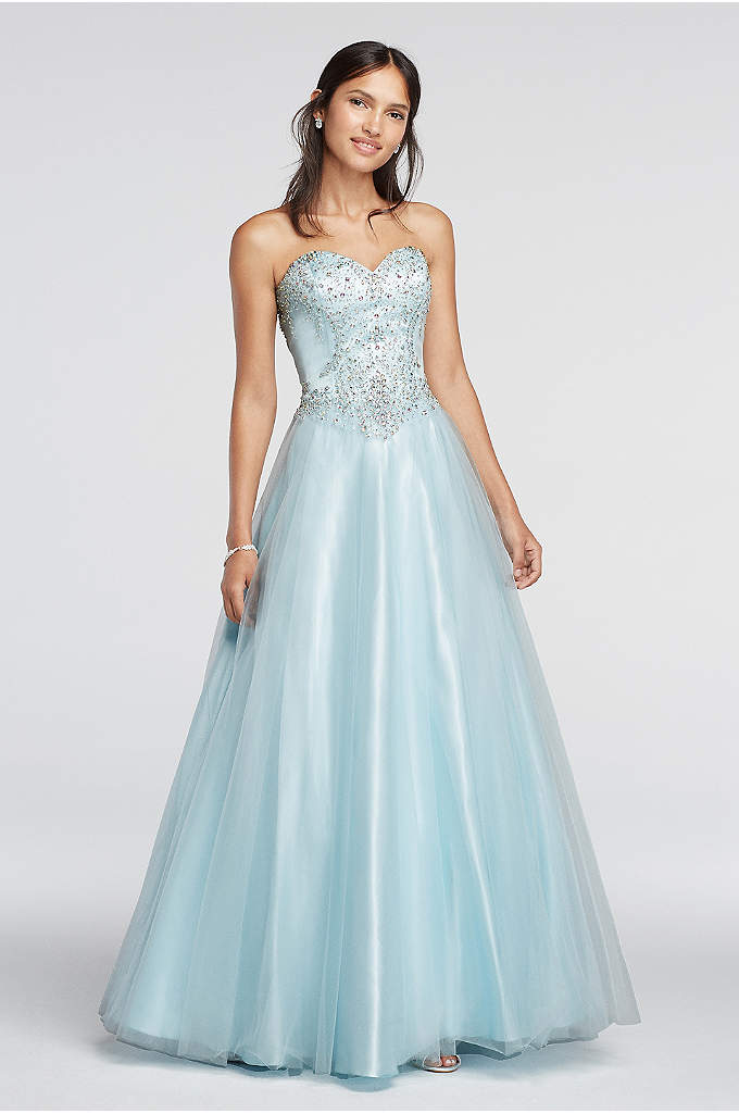 Crystal Embellished Drop Waist Tulle Prom Dress