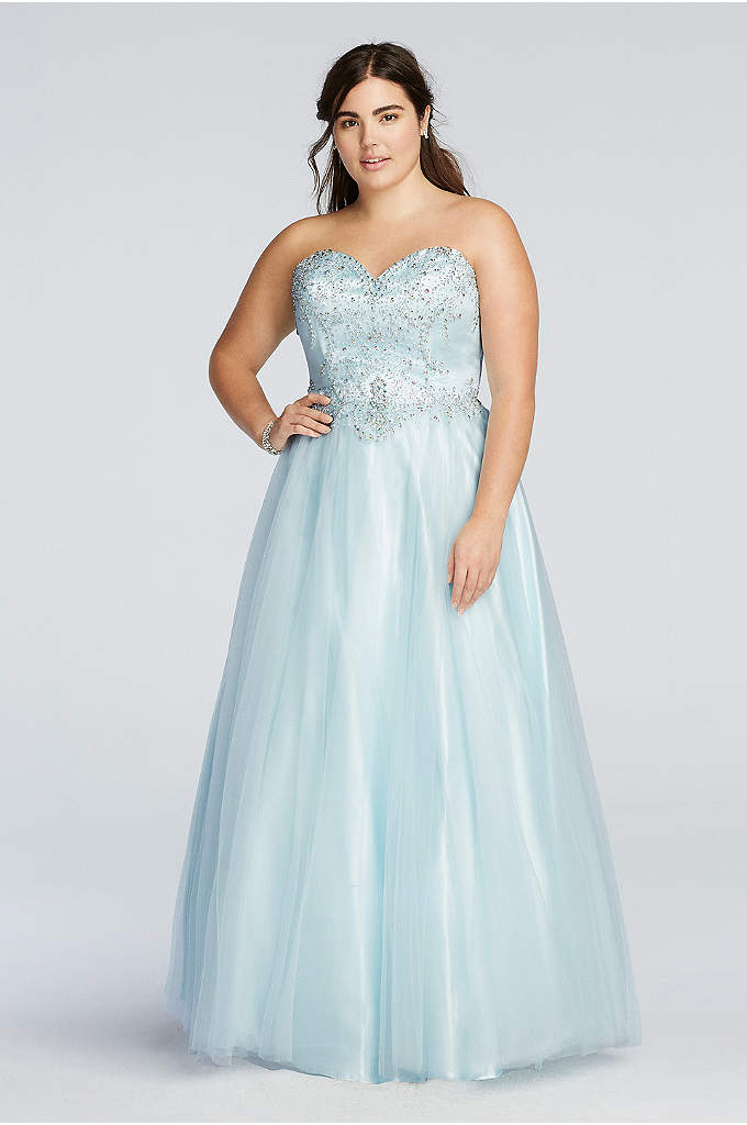 Crystal Beaded Drop Waist Tulle Prom Dress