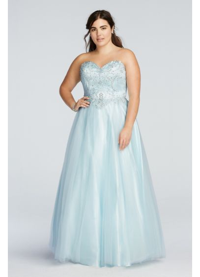 Crystal Beaded Drop Waist Tulle Prom Dress | David\'s Bridal
