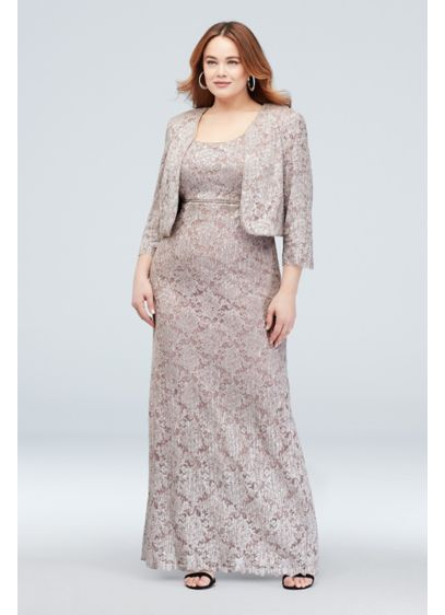 Two-Piece Lace Sheath and Bolero Plus Size Set - A monochromatic look is the height of elegance.