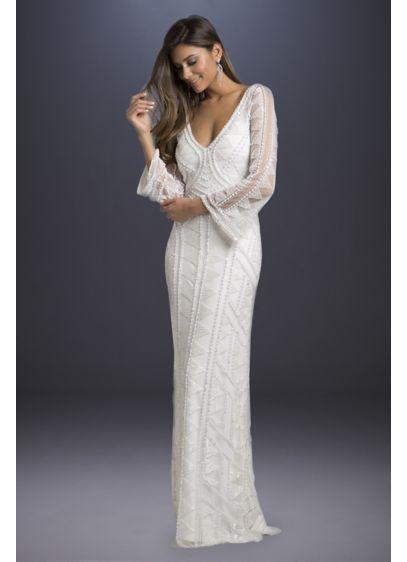 Long Sheath Boho Wedding Dress - Lara