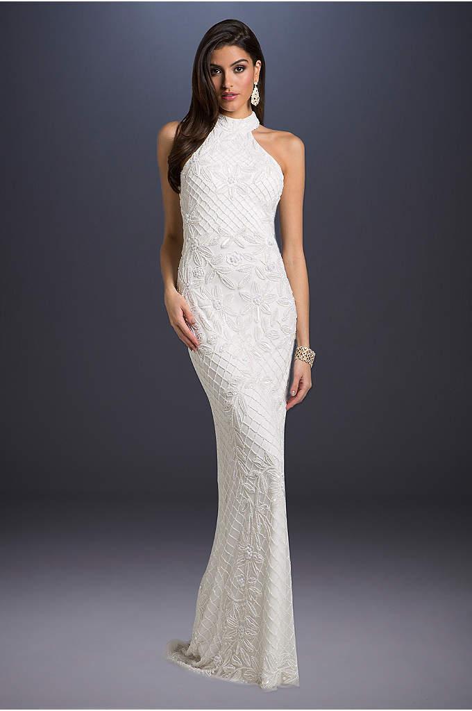 Lattice-Beaded Halter Neck Sheath Wedding Dress - Tonal beading creates glamorous lattice and floral patterns