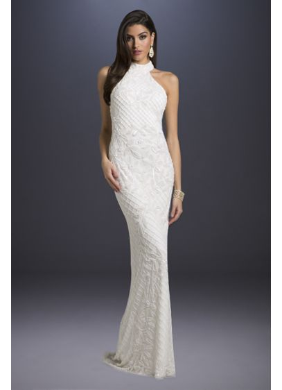Lattice-Beaded Halter Neck Sheath Wedding Dress - Tonal beading creates glamorous lattice and floral patterns