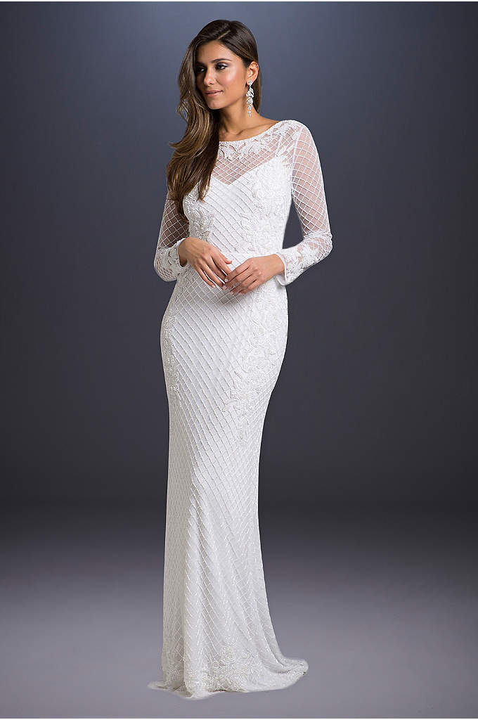 Long Sleeve Sheath Wedding Dress with Beading - This sleek, fitted gown features intricate beadwork, an