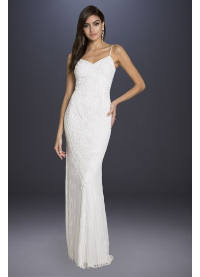 Lara Brooke Beaded Spaghetti Strap Sheath Gown - Adorned with intricate floral beading, this body-skimming sheath