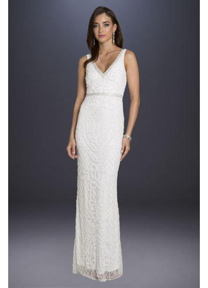 Lara Bella V-Neck Lattice-Beaded Tulle Tank Gown - Tonal lattice beading gleams atop this ultra-elegant sheath